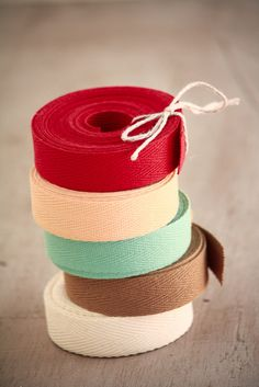 Beautiful, colorful twill ribbon from Olive Manna.
