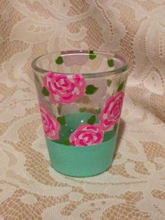 Lilly Pulitzer Inspired First Impressions Hand Painted Shot Glass