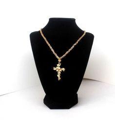 Vintage Artisan 18k GOLD Cross Pendant with Necklace Unique Wonderful Gift! #Handmade