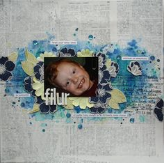 Saras pysselblogg - Sara Kronqvist: Filur | Mixed media background scrapbook layout with old book paper, mists and stamping. Stamped and cut out flowers from Altenew