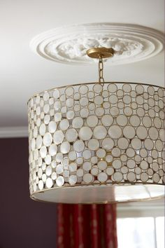 modern chandelier with traditional ceiling medallion (my future