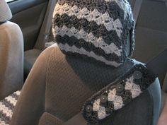 Crochet Car Seat Belt Cozy and SeatHeadrest Cover