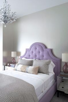 Soho Townhouse - transitional - Bedroom - New York - Katie Lydon Interiors (love this look -- gray with purple, pink, light blue, peach, coral, etc. Can use for girls/guest room)