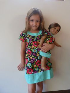 Matching Girl and American girl doll clothing - floral dress. $58.00, via Etsy.