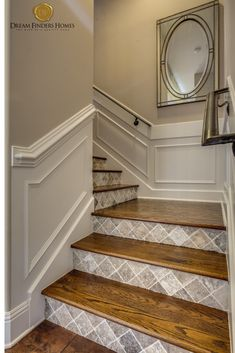 Adding pattern to your staircase is a great interior design trend we are starting to see more often! New Home Construction, Interior Decorating, Interior Design, Home Trends, New Home Designs, Staircase Design, New Builds, Home Builders, My Dream Home