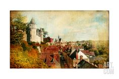 Castles of France (Montresor)- Artistic Retro Picture Art Print by Maugli-l at Art.com