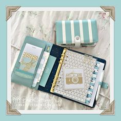 Dark mint kikki k preparing to accept the #listersgottalist challenge ;0) Peeking out is a May Designs anchor notebook & above is the absolutely stunning striped teal & white webster's pages!