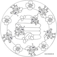 Crafts,Actvities and Worksheets for Preschool,Toddler and Kindergarten.Lots of worksheets and coloring pages. Bee Coloring Pages, Mandala Coloring Pages, Coloring Sheets, Coloring Books, Bee Crafts, Bugs And Insects, Digital Stamps, Spring Crafts, Quilting Designs