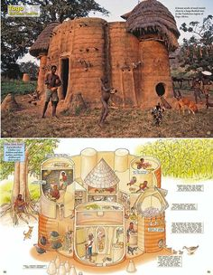 Africa | 'Earth Castles'. Togo.  These two images taken from the publication Wonderful Houses Around the World by Yoshio Kumatso, not only shows the housing that is typical of the Tamberma architecture, but also provides an illustration how the house and its rooms are put to use.  | Most probably too small to view on Pinterest, but click the image and you will get to the original source.