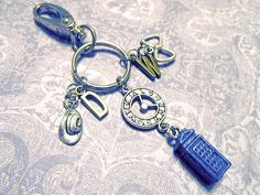 DOCTOR WHO 11th Doctor Keychain with SIX Charms - Custom Orders Welcome