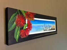 acrylic painting pohutukawa - Google Search