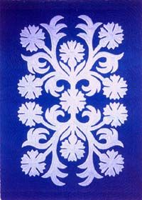 """Sharon Balai: Carnation (Poni Mo'i) - ©Sharon Balai Finished quilt size: 42"""" x 58"""" This pattern is OUT"""