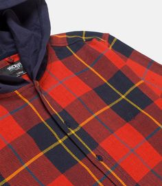 6f87c6856 Custom milled cotton flannel plaid shirt with french terry hood.