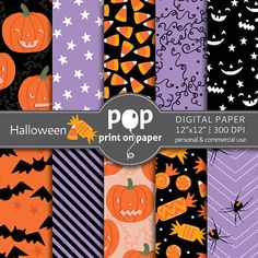 Halloween digital paper 10 papers 12x12 by POPprintonpaper, $4.00