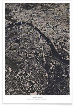 London City Map als Premium Poster von Luis Dilger Art Prints Online, London Calling, Bedroom Art, London City, Art Museum, City Photo, Poster Prints, Black And White, Portrait
