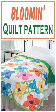 Exclusively Annie's Quilting Designs - Make a fresh field of flowers for your bed that will bloom all year. Finished size: 62 x 74 Cute Quilts, Lap Quilts, Quilt Blocks, Quilting Projects, Quilting Designs, Quilting Ideas, Lap Quilt Patterns, Sewing Projects, Applique Patterns