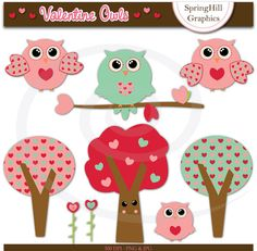 Instant Download Valentine Owls Digital Clip Art for Kawaii, Applique, Card Making, Scrapbooking - Personal and Commercial use
