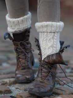 Free knitting Pattern - cable socks from Rowan Knitting. Need to find those boots too…