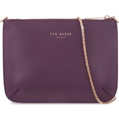TED BAKER Leather cross-body bag ($105) ❤ liked on Polyvore featuring bags, handbags, shoulder bags, blue, blue leather handbag, blue leather purse, leather crossbody handbags, shoulder strap bag and purple leather handbag