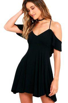 $34.95 Sweet Adorable Black Backless Skater Her Flared Dress