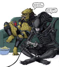 Un poco de humor entre Alien y Depredador!