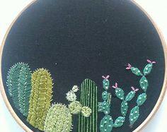 Artículos similares a Arte de aro de bordado de cactus / suculentas / bordado de la mano / regalo para el hogar / arte de la pared / decoración para el hogar en Etsy