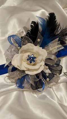 Royal blue gatsby prom corsage from Hen House Designs www.henhousedesigns.net