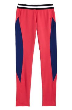 Bold color-blocked styling and a striped contrast waistband enliven soft and stretchy leggings perfect for yoga, dance or just everyday wear. Tween Girl Gifts, Tween Girls, Teen Fashion, Color Blocking, Pajama Pants, Nordstrom, Leggings, Hanukkah 2017, How To Wear