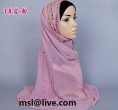 Gold Studs Hijab Classy Maxi Diamante Scarf Stones Wrap Abaya 180 x 100
