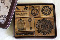 Margaret Stamp Set Bird Cage Key Lace