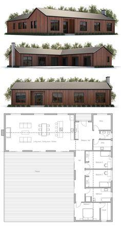 Modern Farmhouse house plan, home decore, architecture Barn House Plans, Modern House Plans, Small House Plans, House Floor Plans, Village House Design, Barndominium Floor Plans, House Blueprints, House Layouts, Modern Farmhouse