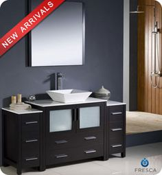 "60"" Fresca Torino (FVN62-123612ES-VSL) Modern Bathroom Vanity w/ Two Side Cabinets & Vessel Sink – Espresso #vanities #HomeRemodel #BathroomRemodel #BlondyBathHome #Freestanding"