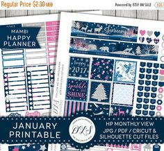 January Stickers, January Monthly View, Mambi Happy Planner, Printable Planner Stickers, New Year Planner, 2017 Stickers, Cut Files HP
