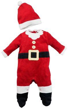 Costume dors bien bébé déguisement en velours avec bonnet - Père Noël T.  56 62 (0 3 mois) 35f399682bb