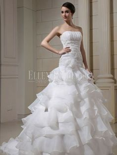 Trumpet/Mermaid Strapless Chapel Train Organza Wedding Dresses