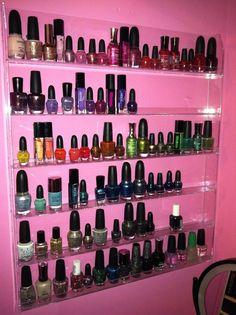 Racks on racks of nail polish