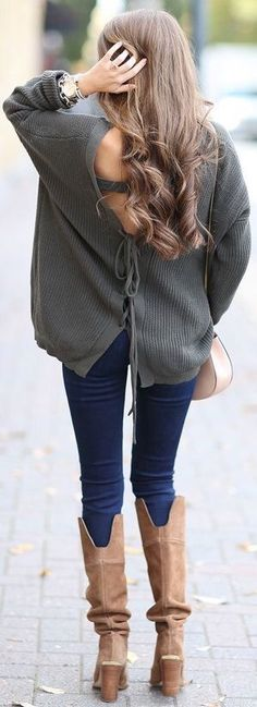 Lace up sweater & Riding boots.
