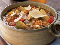 Farro Minestrone with Brussels Sprouts, Butternut Squash, and Chestnuts | Spelt (called farro in Italy) is an ancient, unhybridized form of wheat that adds fiber to this soup.