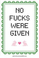 Instantly-Delivered PDFs | Subversive Cross Stitch | No Fucks Were Given