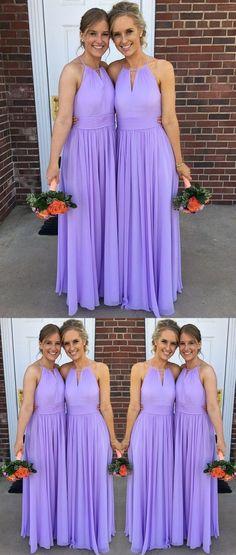 36b9d0bdce9 Lilac Chiffon Halter Simple A-line Long Bridesmaid Dresses