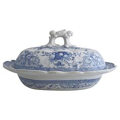 English Blue & White Transferware Tureen $145.00