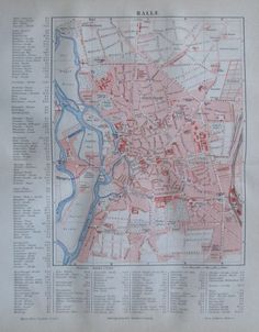 1888 HALLE alter Stadtplan Antique City Map Lithographie Sachsen-Anhalt | eBay