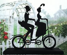 Old Tandem Bicycle Couple Decorative Wood Silhouette