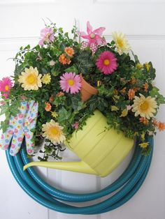 TURQUOISE GARDEN HOSE Wreath Pink Yellow Peach Wreath Spring Wreath Summer Wreath Mother's Day Gift Wreath Free Shipping