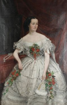 """""""Joseph Hussenot (French, 1827–1896) A three-quarter length portrait of a woman in a lace ballgown applied with flowers , 1856 Medium: oil on canvas Size: 157 x 103 cm. (61.8 x 40.6 in.) Private Collection Image via ArtNet"""""""