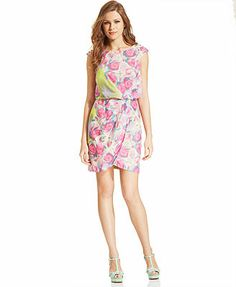 Perfect for a summer wedding. Love the soft colors. Jessica Simpson Cap-Sleeve Floral-Print Blouson Dress