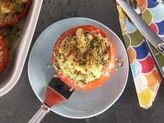 Kelsey's Essentials - Baked Tomatoes Stuffed with Creamy Stovetop Bacon Mac and Cheese