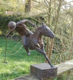 #Bronze #sculpture by #sculptor Marie Ackers titled: 'The line of the Ball (Semi abstract Stylised Polo Pony and Player statue)'. #MarieAckers