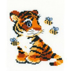 "Stripies Counted Cross Stitch Kit-6""X7"" 10 Count"