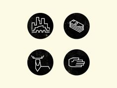 simple line art badges
